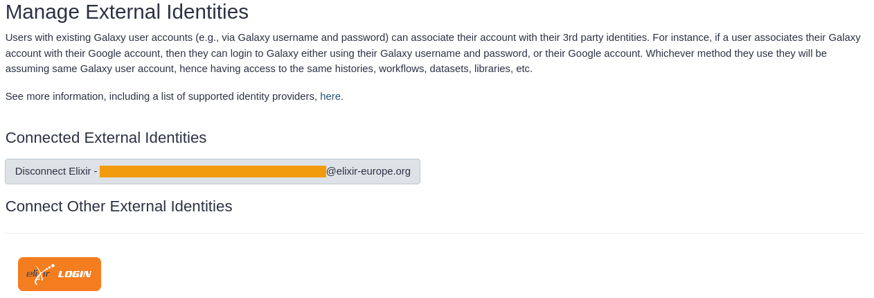 Enabled Galaxy account with ELIXIR AAI